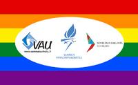 VAU, Paralympiakomitea ja SoveLi yhdessä mukana Helsinki Pride -kulkueessa.