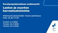 Paralympiakomitean webinaareista vinkkejä lasten ja nuorten harrastustoimintaan.